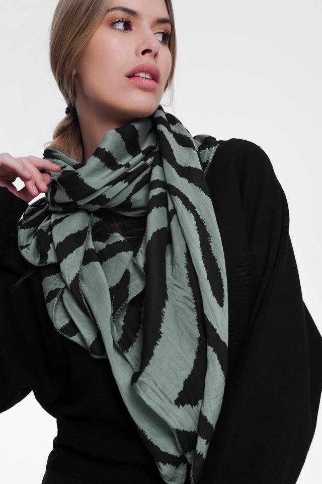 Khaki scarf with zebra print