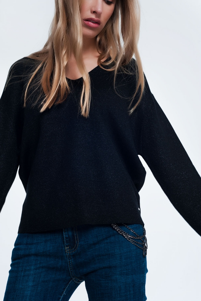 Black sweater with v-neck
