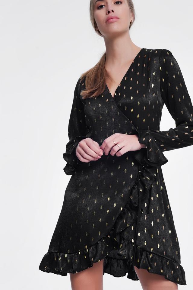 Black dress with gold shiny spots
