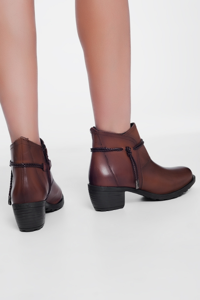 Brown blocked mid heeled ankle boots with round toe