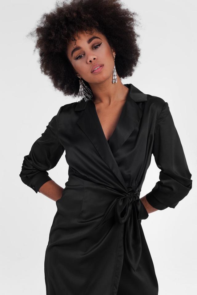 twist collar wrap casual mini dress