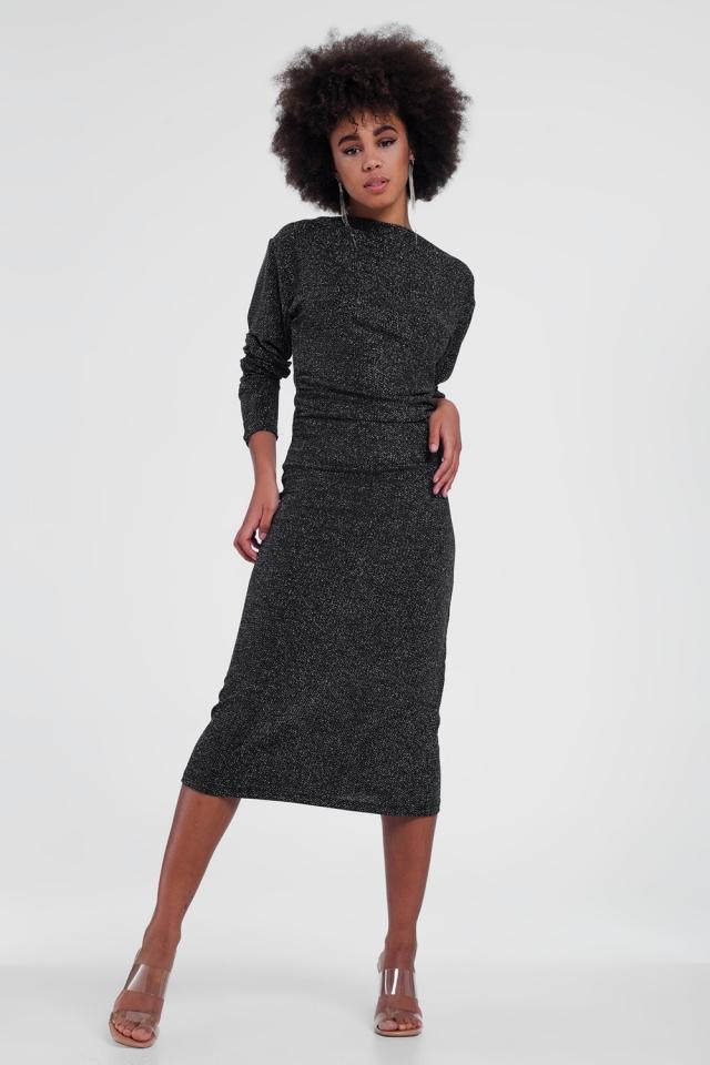 black shiny stretchy dress with round neck