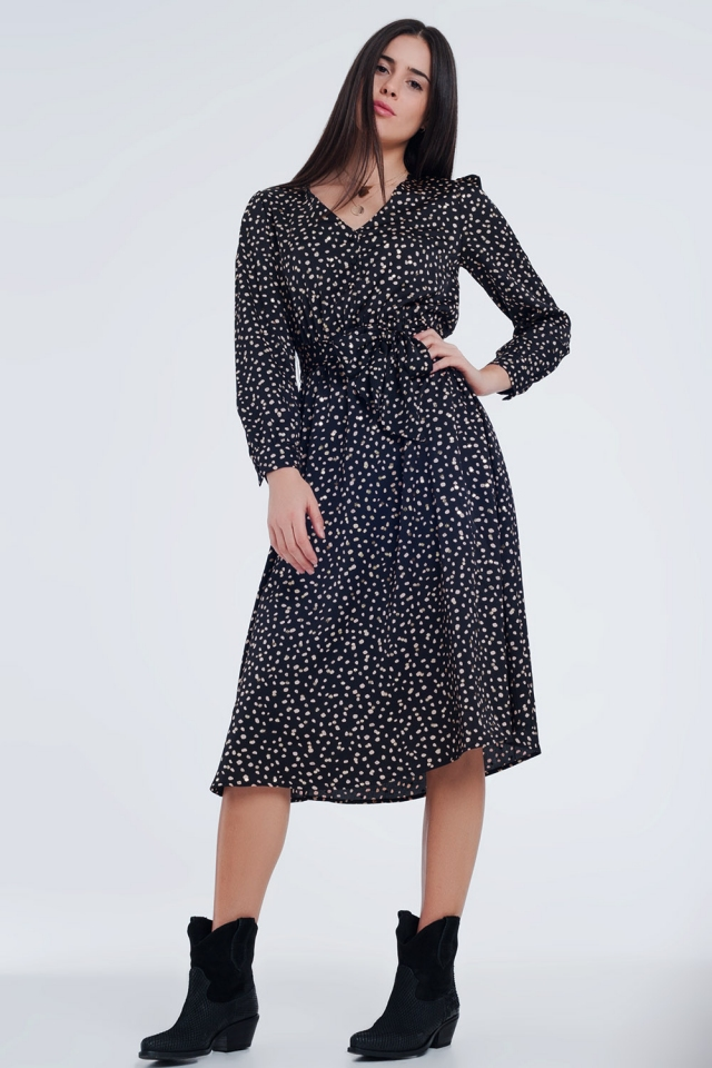 Black dress with spots and waistband