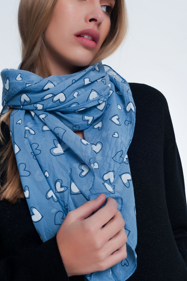 Blue scarf with heart print