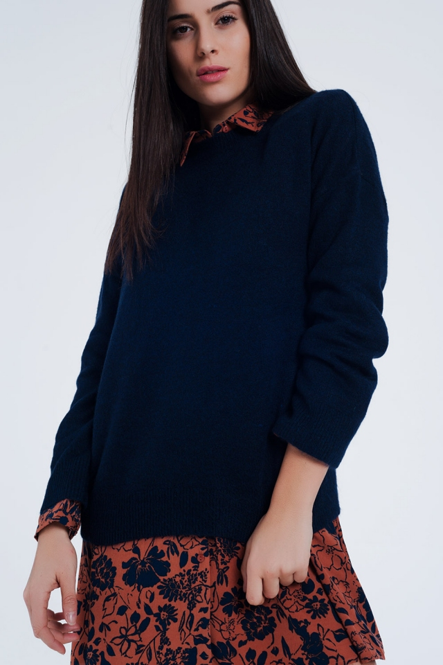 Navy Blue knitted sweater long sleeved