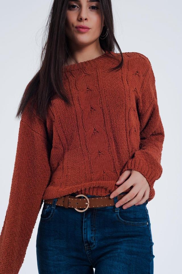 Woven sweater in orange