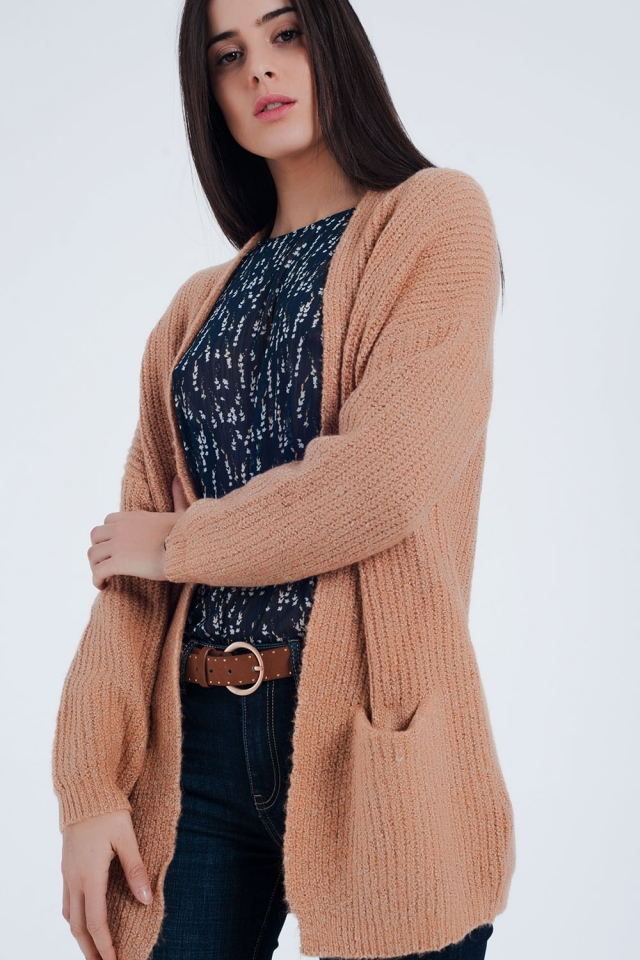 Pink Fleck Knitted Cardigan