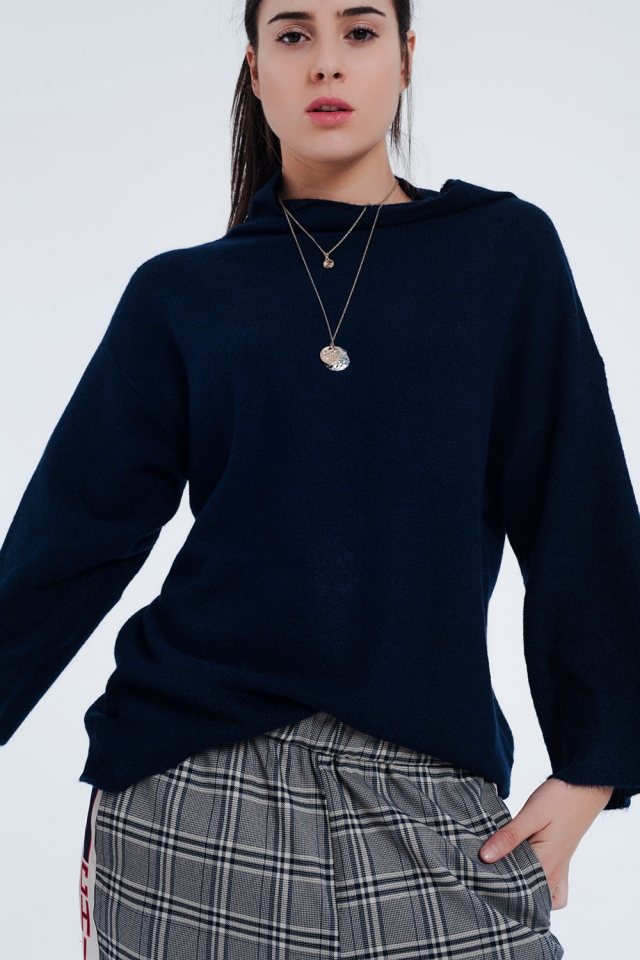 Navy blue sweater with wide sleeves