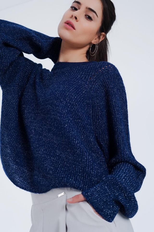Navy ribbed knitted sweater with shiny detail