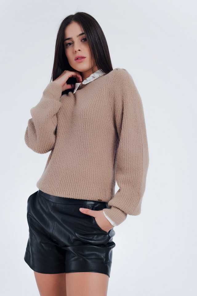 fine ribbed knitted sweater in beige