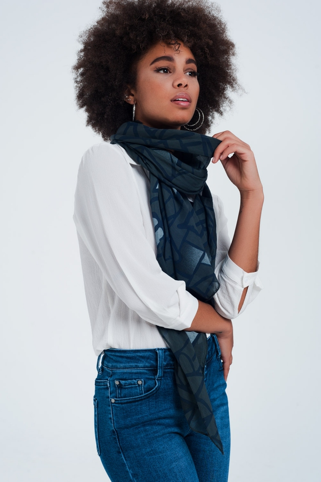 Black scarf with patterns