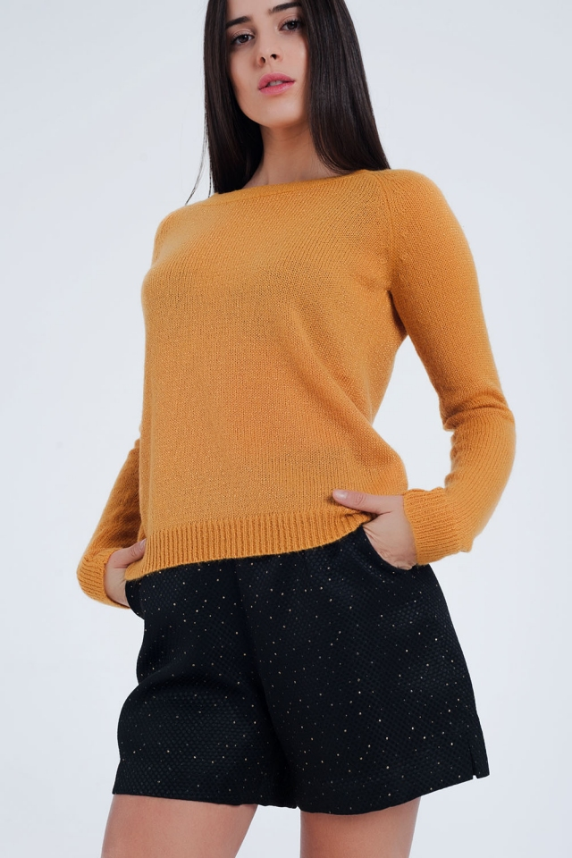 Mustard sweater with boat neck
