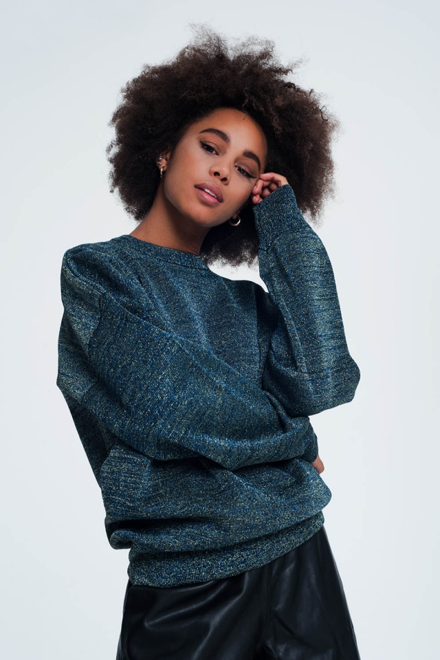 Navy blue oversized sweater with round neck