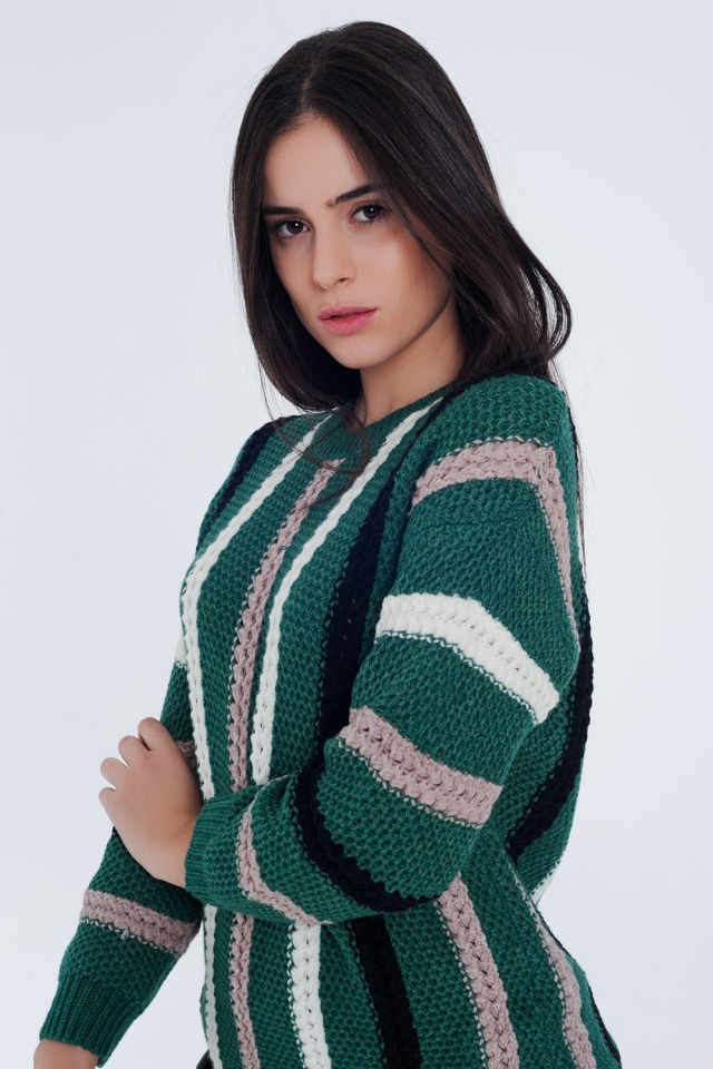 Green thick knitted sweater with stripes
