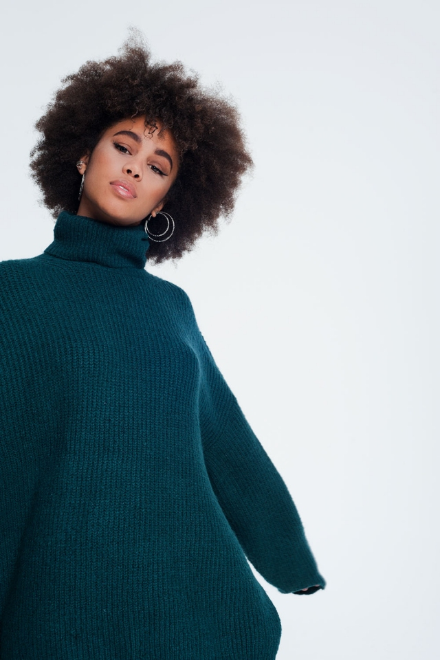 oversized funnel neck sweater in green