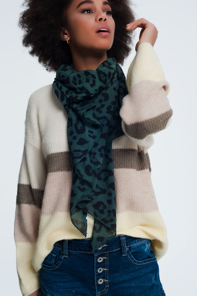 Green scarf with panther print