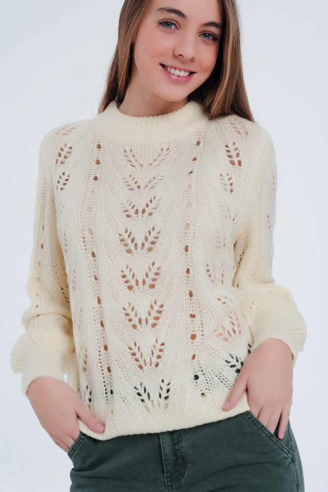 Cream sweater with see through knit