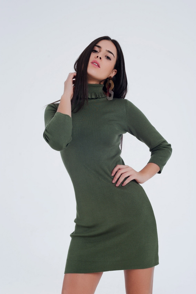 Dress in green with detailed turtleneck
