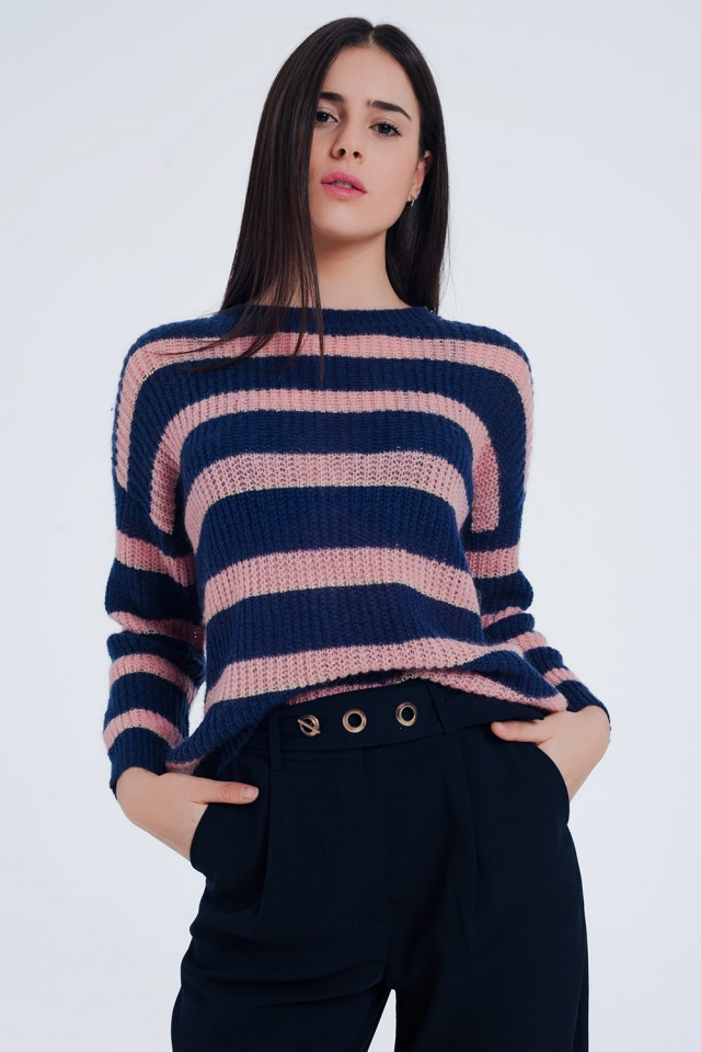 Navy Striped Mohair Sweater with Lurex