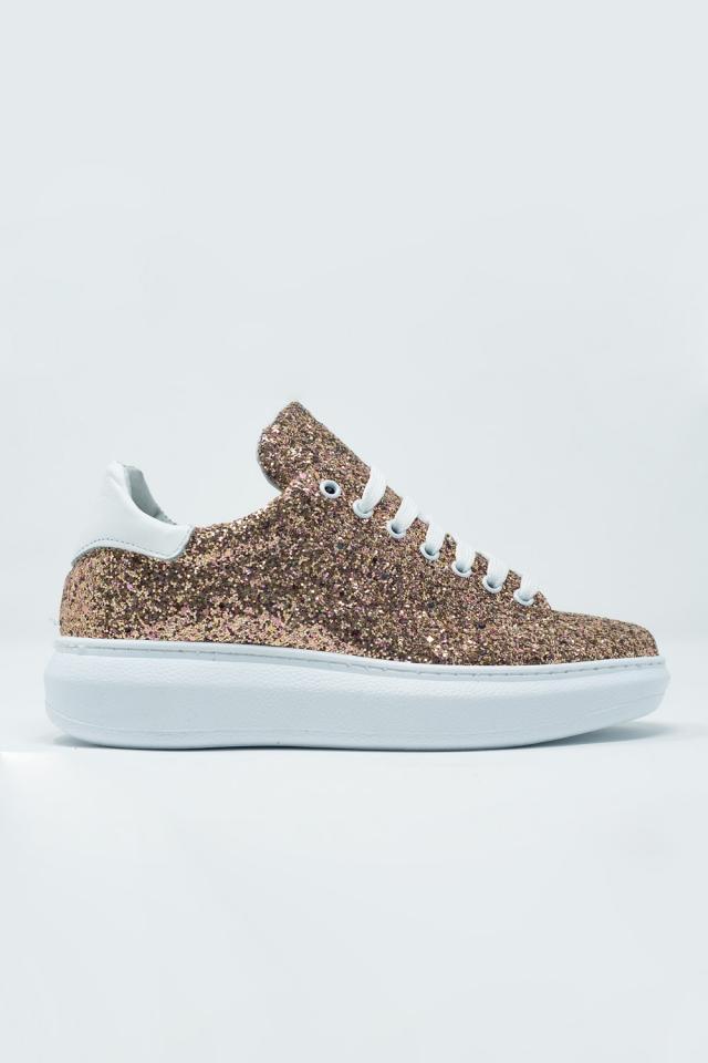 Sneakers met dikke zool veters en gouden glitter