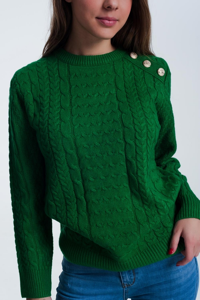 Sweater in green with button detail shoulder