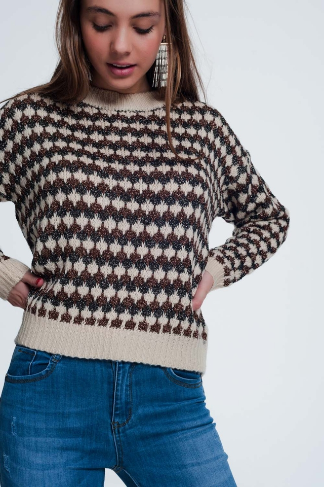 Cropped sweater with shiny knitted stripes