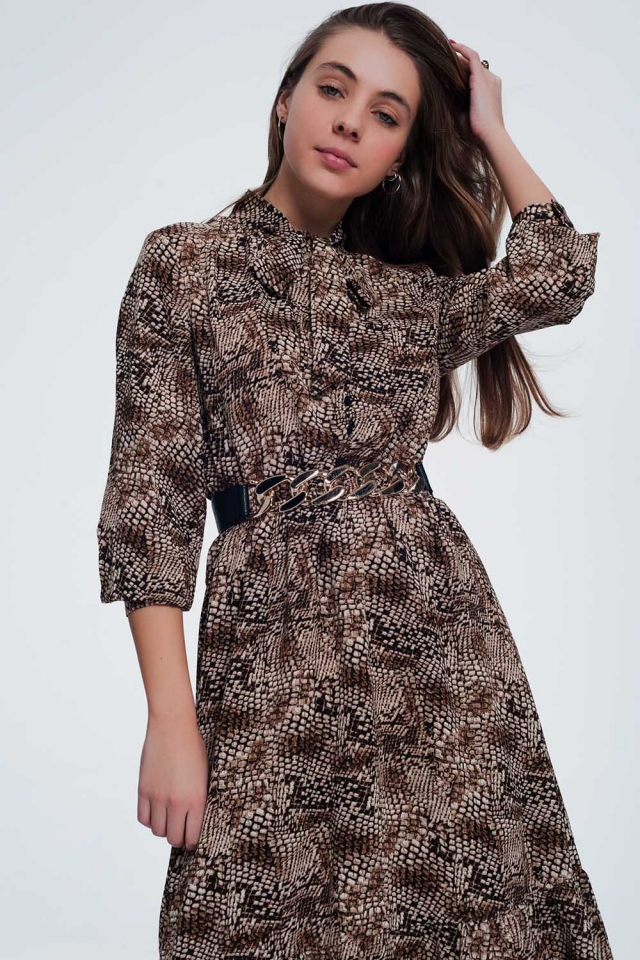 Midi brown dress with snake pattern
