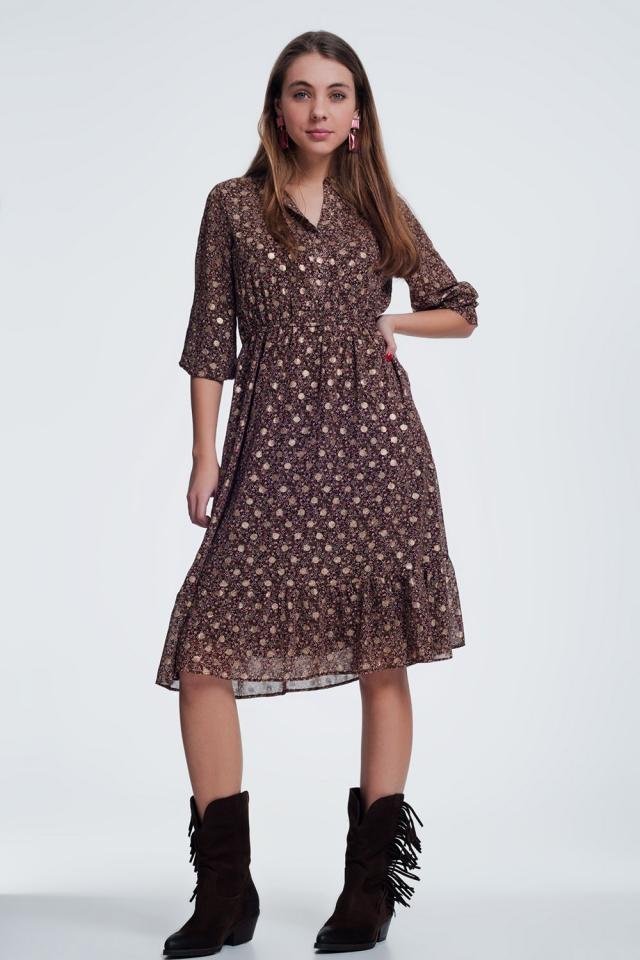brown dress in flower print with long sleeves