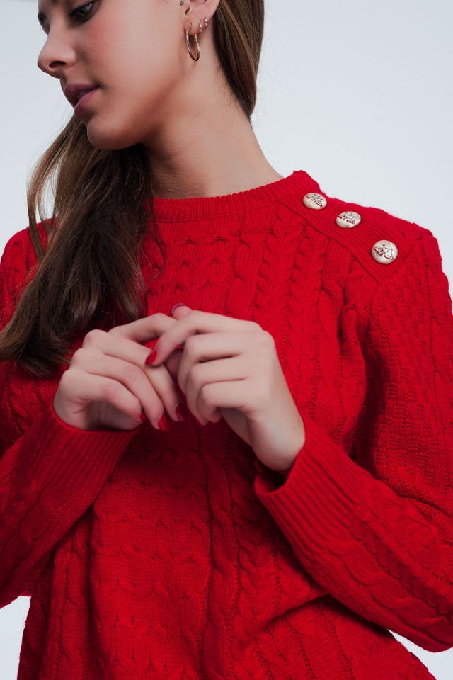 Sweater in red with button detail shoulder