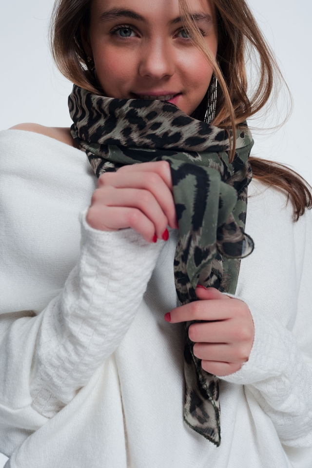 Khaki scarf with tiger print