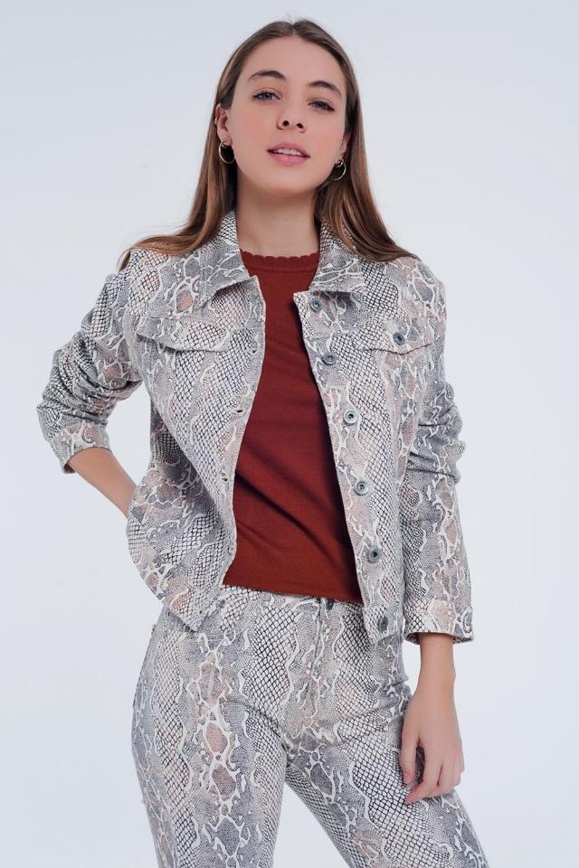 Beige jacket with snake print