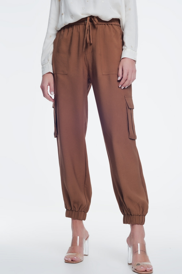Brown cargo pants with elastic ankles
