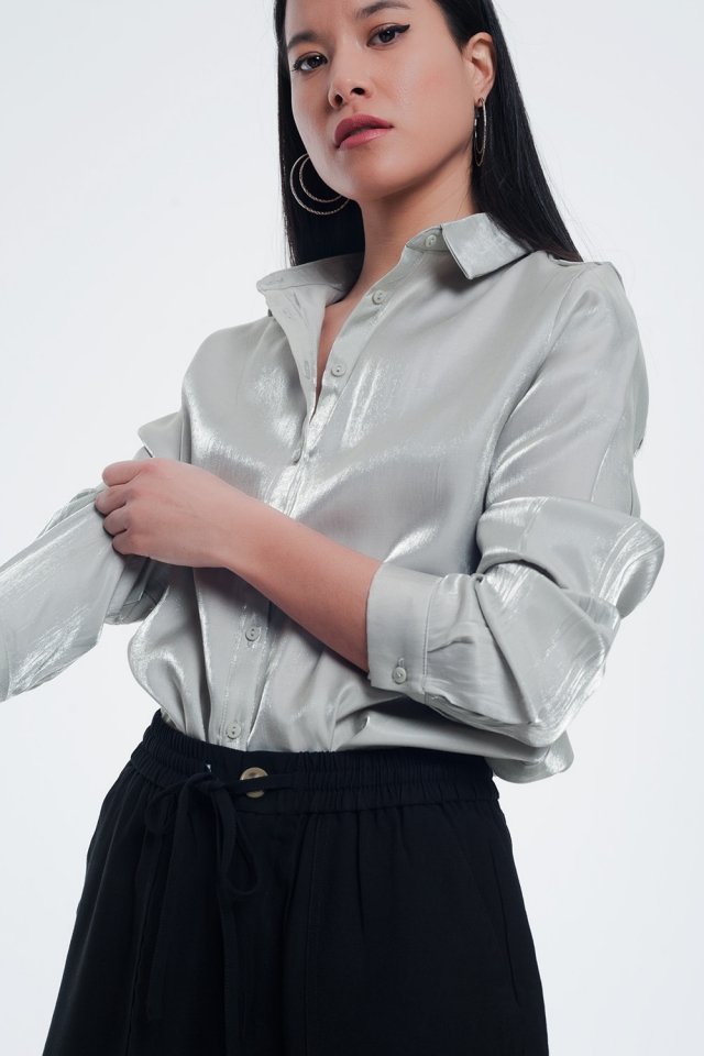 Gray shiny blouse with long sleeves