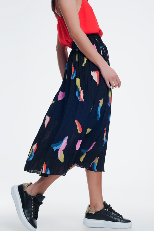 Black skirt with colorful print