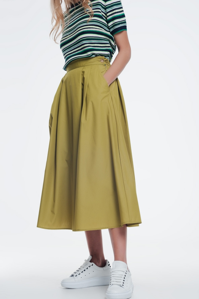 green skirt with thick waistband