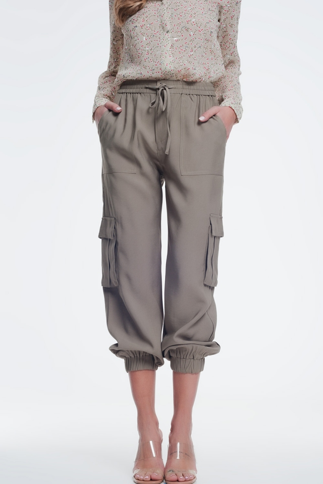Khaki cargo pants with elastic ankles