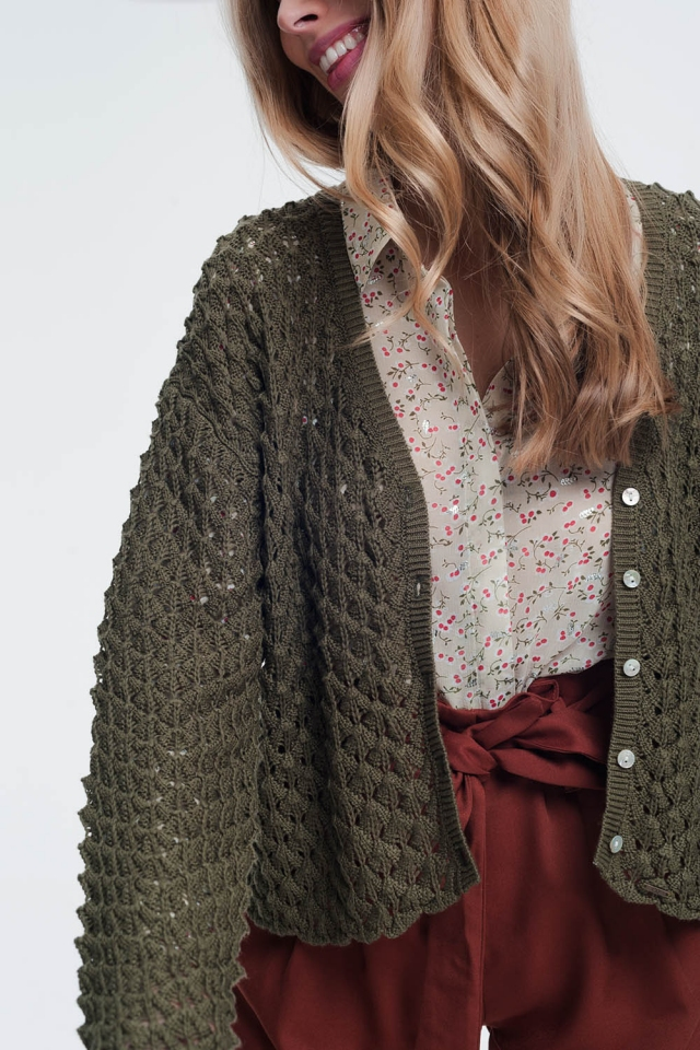 Khaki cropped cardigan with knit pattern details