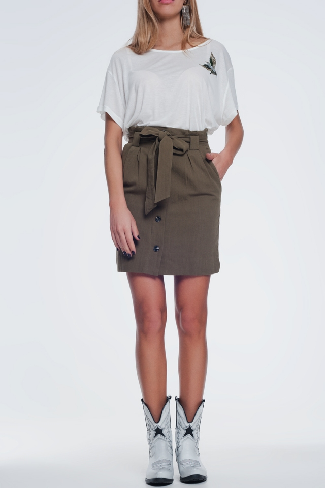 Mini khaki skirt with front buttons