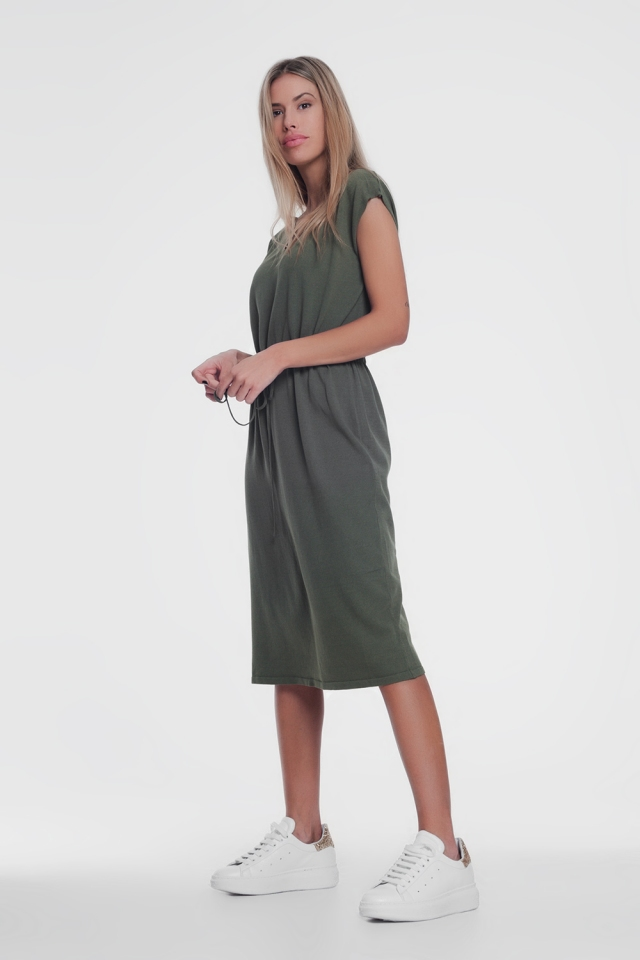 khaki short-sleeved t-shirt dress with knotted waist