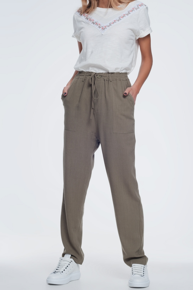 Khaki pants with elastic waist
