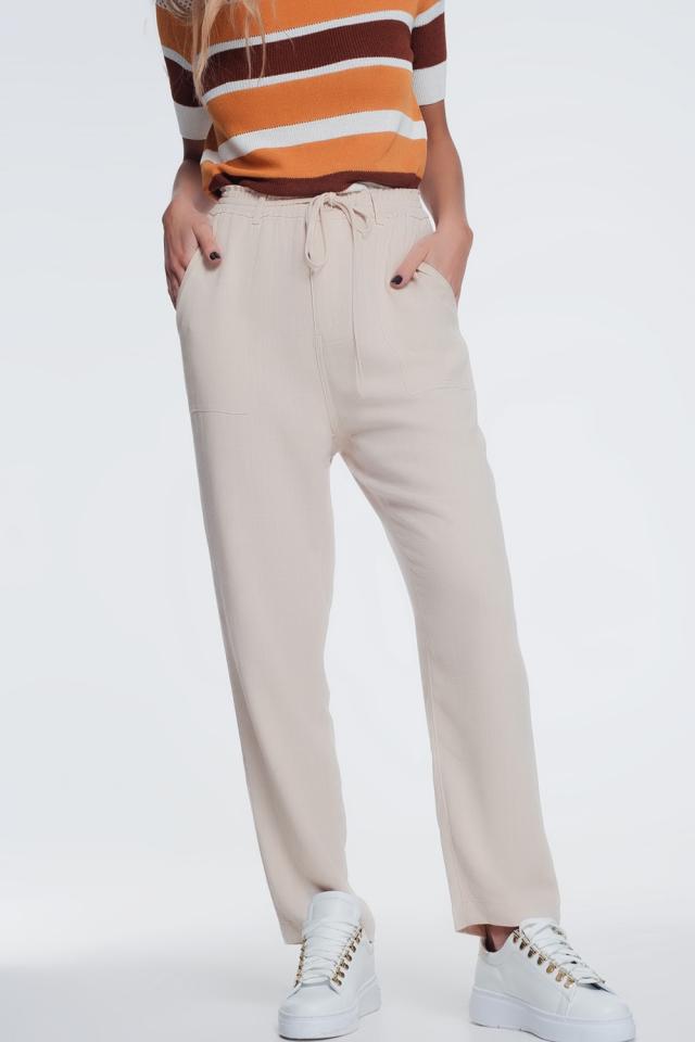 beige pants with elastic waist