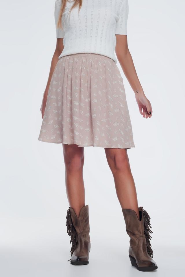 mini skirt in vintage floral in beige
