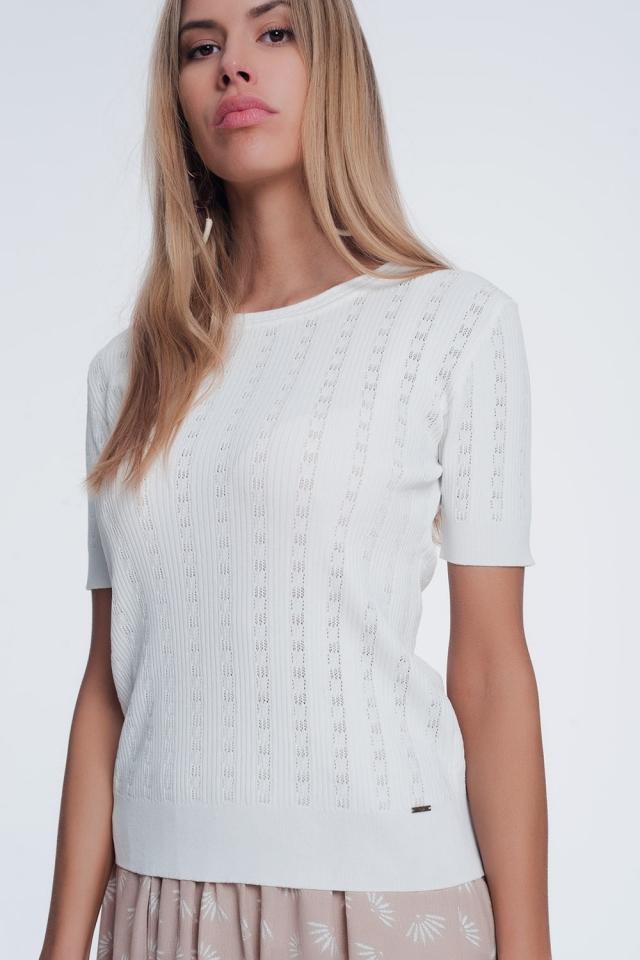 scoop neck short sleeve sweater in fine knit rib