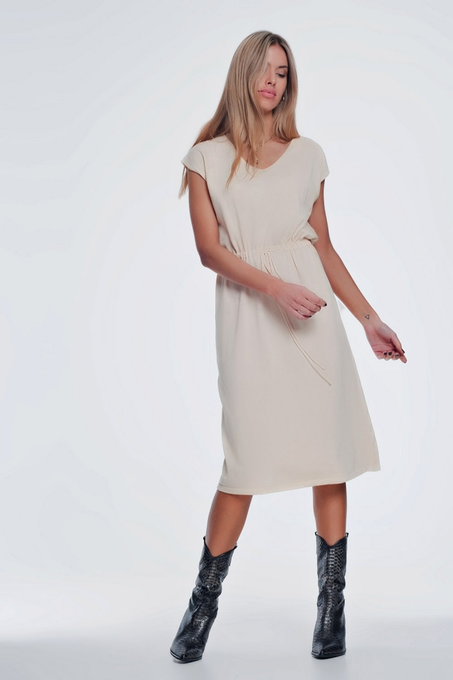 beige short sleeved t shirt dress with knotted waist