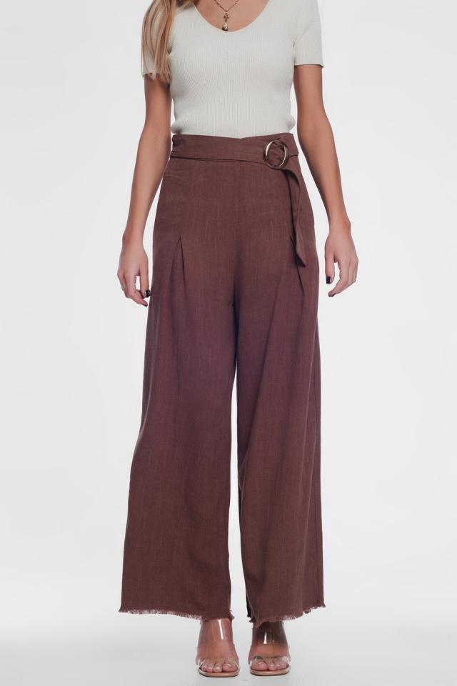 belted high waist wideleg trouser