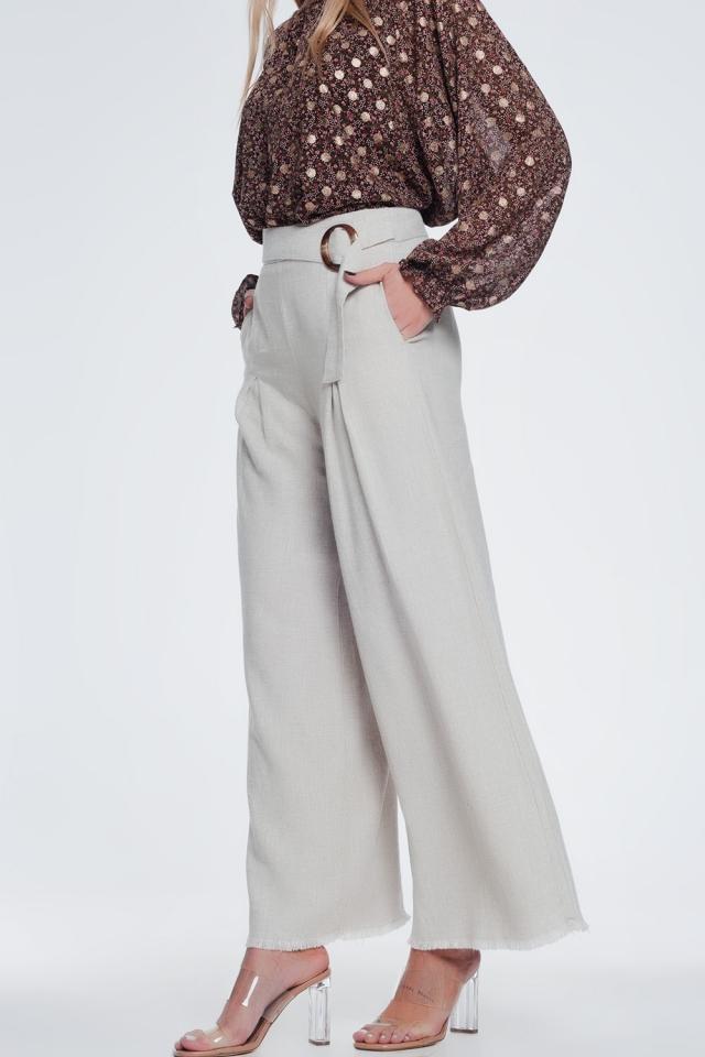 belted high waist wide leg trouser