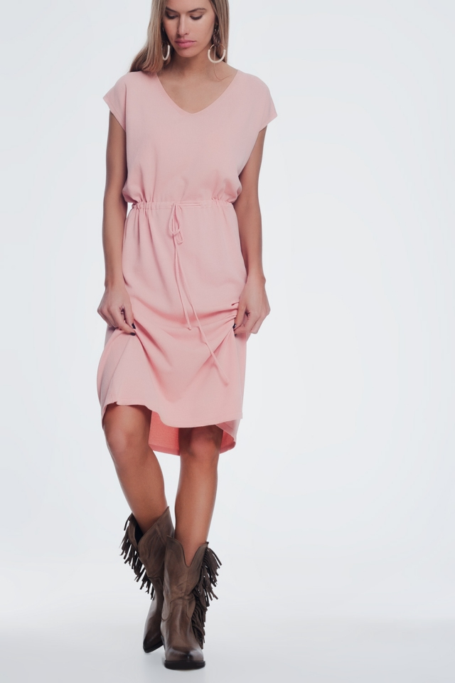 roze T shirtjurk met korte mouwen en geknoopte taille