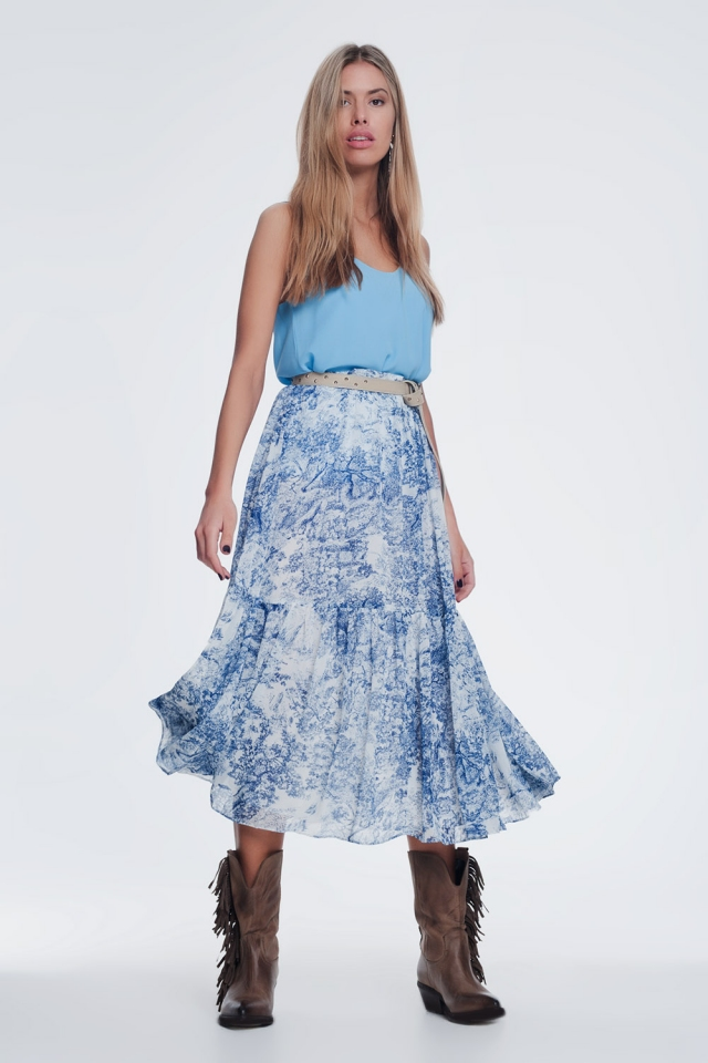 print pleated midi skirt in blue