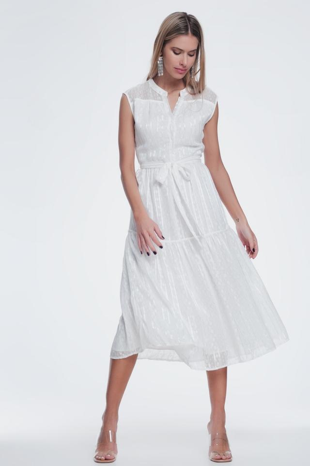 Gestructureerde jurk met knopen en gelaagde rok in creme