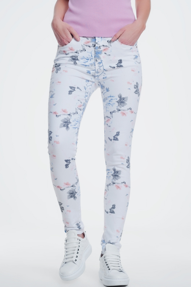 white skinny pants with floral print